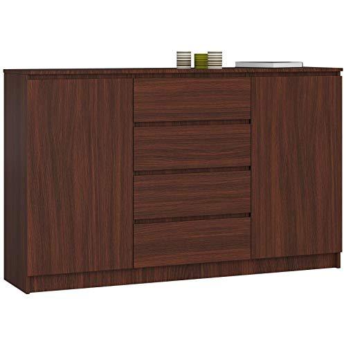 ADGO K160 2DSZ Moderne Kommode mit 2 Schränken und 4 Schubladen B 160 x T 40 x H 99 cm Schlafzimmer Wohnzimmer Flur matt (Wenge)