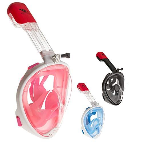 Rucanor Schnorchelmaske Vollmaske, Tauchermaske für Kinder und Erwachsene, 180° Grad Sicht, Aktion Kamera-Halterung, Anti-Fog und Anti-Leck, Größe L-XL, Rosa