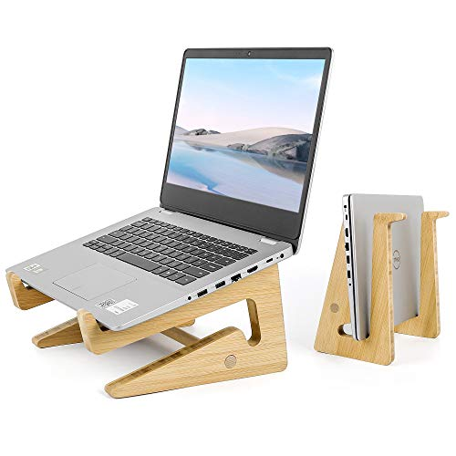 sanlinkee Laptop Stand Wooden Laptop Holder, Ventilated Desktop Computer Stand Multifunction Storage Compatible with Macbook Pro Air, DELL,HP,Samsung,Lenovo and more 13-17.7'Laptops