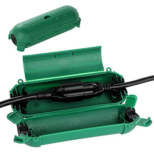 Restmo 2 Pack Mini IP44 Waterproof Outdoor Connection Box with Lockable Latches and Mounting Holes, Weatherproof Extension Cord Safety Cover for Outdoor Plugs, Lights, Cables, Wires, Size Small, Green