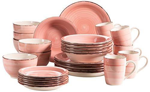 MÄSER 931615 Bel Tempo II 30-teiliges Vintage Geschirr Set für 6 Personen, handbemaltes Keramik Kombiservice in Rosa, Steingut