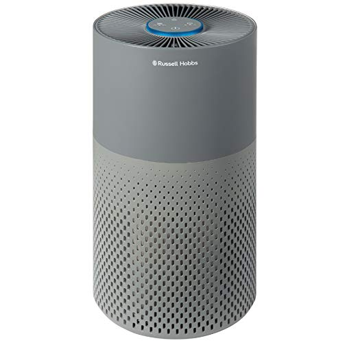 Russell Hobbs RHAP2001G Compact Air Purifier, Captures Bacteria, HEPA Filter for 99.5% of Particles, Air Cleaner for Allergies, Odour, Dust, Smoke, Multi Colour LED Display, Grey