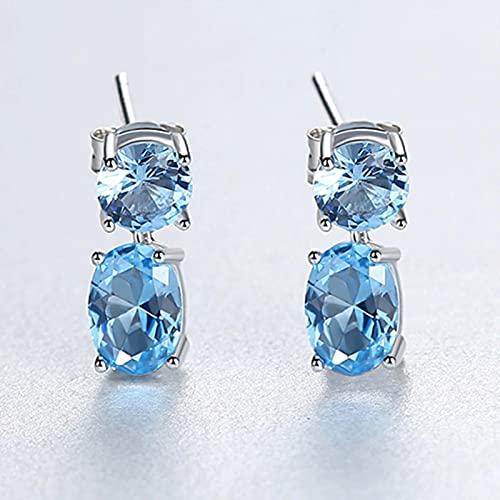 SALAN Pendientes Colgantes De Topacio Azul De Lujo para Mujer, Compromiso De Boda, Joyería Fina, Plata
