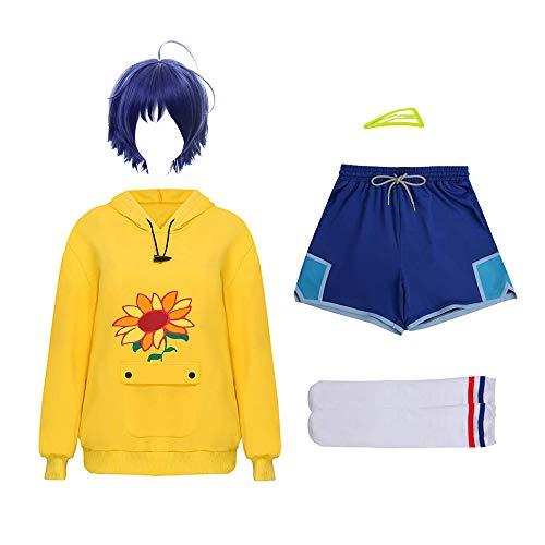 Anime Wonder Egg Priority Costume Ohto Ai Disfraz de Cosplay Conjunto completo Sudadera con capucha Pantalones cortos Calcetines Peluca de horquilla Traje de fiesta de cosplay para nias Mujeres