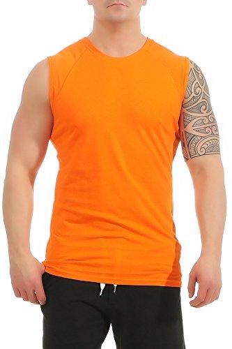 Mivaro Herren Shirt ohne Ärmel - Tank-Top - Muscle Shirt - Muskelshirt - Achselshirt - T-Shirt ohne Arm, Größe:S, Farbe:Orange
