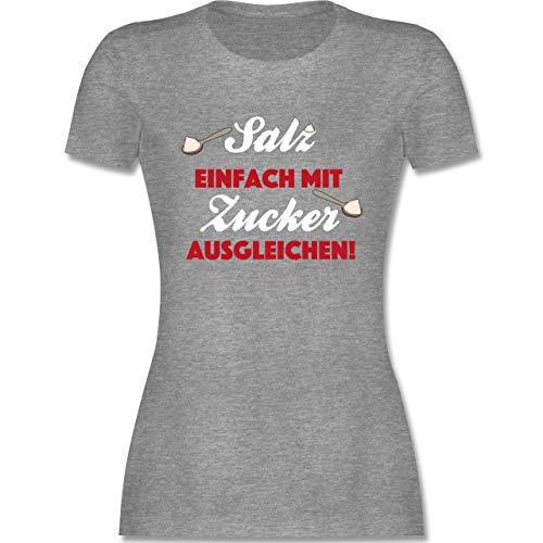 Küche - Salz einfach mit Zucker ausgleichen! - L - Grau meliert - T-Shirt - L191 - Tailliertes Tshirt für Damen und Frauen T-Shirt