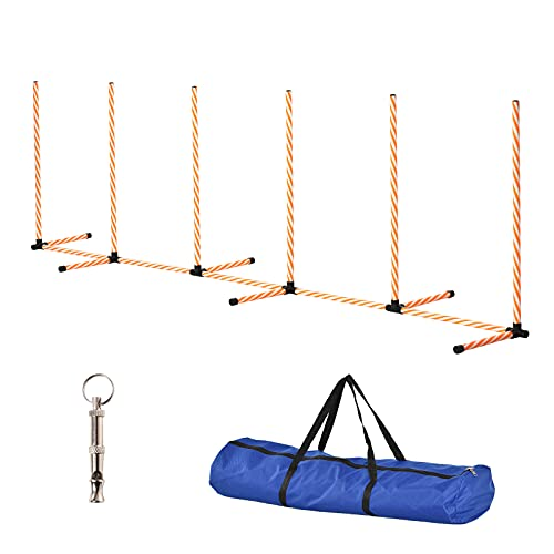 PawHut Dog Agility Training Equipment Pet Play Run Obstacle w/Weaves Poles...