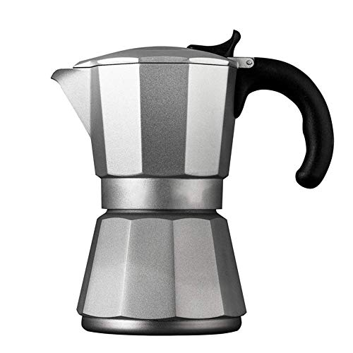 Coffee Moka Pot Hogar Mocha Cafetería Poticion Cocina de Inducción Calentada Cafetera Pot Mocha Maker para Café de Cuerpo Completo (Color: Plata, Tamaño: 6 Taza) BJY969