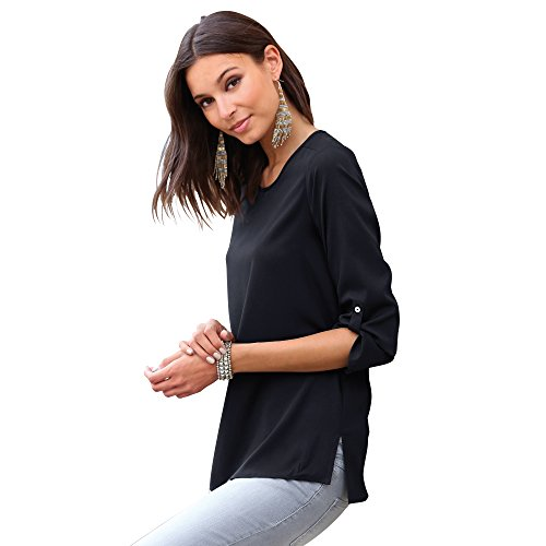 Blusa Lisa Manga 3/4 Regulable Mujer by Vencastyle - 110370,Negro,L
