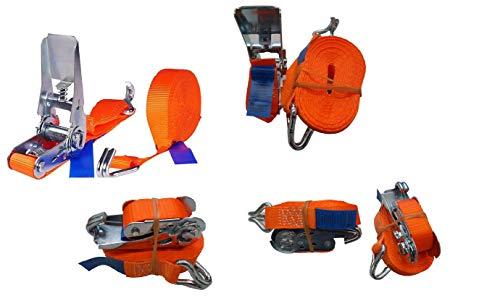 4 Stück 2000kg 6m Spanngurte mit Ratsche 2 teilig zweiteilig mit Haken Ratschengurt Zurrgurte orange 35mm 2000 daN 2t Marwotec