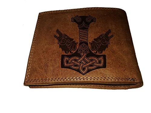 Geldbörse Portemonnaie Brieftasche Fenris Wolf mit Thors Hammer echt Leder für Damen und Herren viele Fächer für Karten großes Münzfach