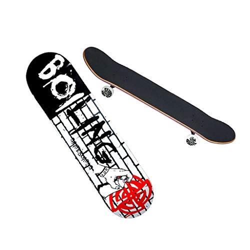 HXGL-Skateboards Entry Professional Skateboard Jungen und Mädchen Jugendliche Erwachsene Anfänger Professional Skateboard Double Rocker - Einseitige Cartoon-Serie Mystery Mission (Color : Schwarz)