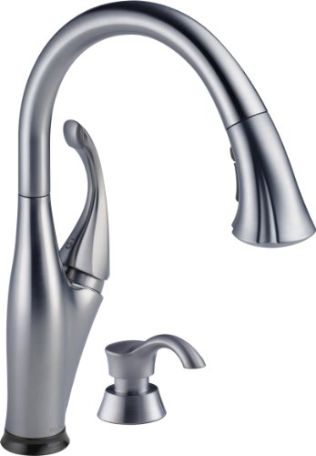 DELTA Addison Single-Handle Touch Kitchen Sink Faucet with Pull Down Sprayer, Soap Dispenser, Touch2O Technology and Magnetic Docking Spray Head, Arctic Stainless 9192T-ARSD-DST