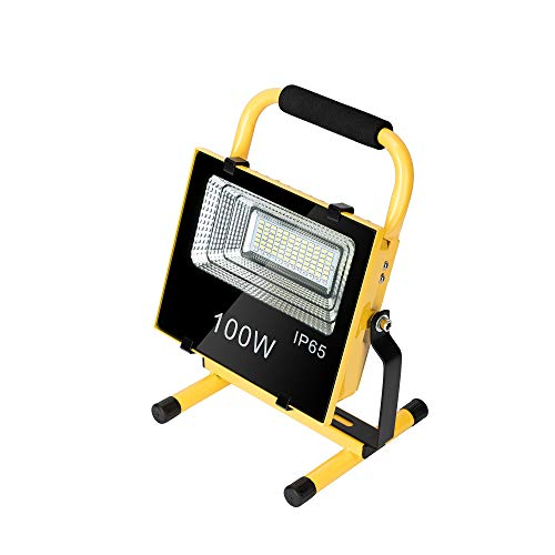 LED Work Light 100W with Stand, Portable, Rechargeable, Solar Light Outdoor Waterproof, Flood Light, Job Site Lighting (100W)