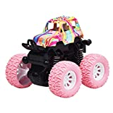 Toyvian Pull Back Cars Toys Monster Truck Inertia Toy Friction Powered Cars Four Wheel Drive Push Go Truck and Car Toy for Kids Children (Pink)