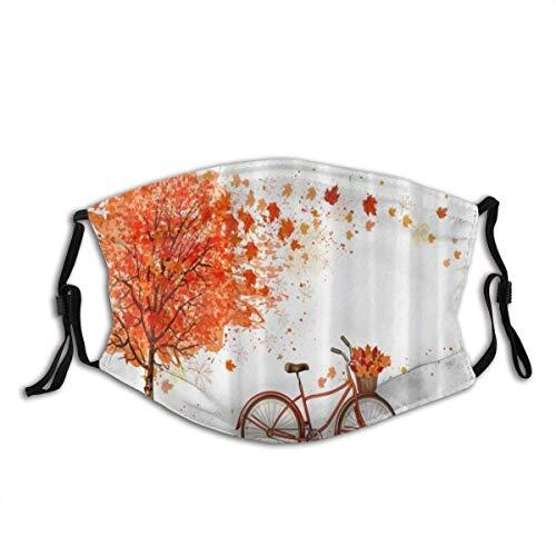 Mund Maske Herbst Ahorn Blätter Baum Und Fahrrad Thanksgiving Halloween Sturmhaube Wiederverwendbare Winddichte Anti-Staub-Mund Bandanas Camping...