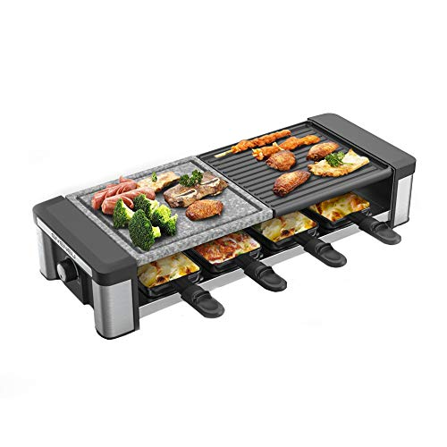 GIVENEU Raclette Table Grill, 1200W Electric Table Grill with Natural Cooking Grill Stone, Non-Stick Reversible Grill Plate and Removable Mini Pans, Ideal BBQ Table Grill for Parties and Family Fun