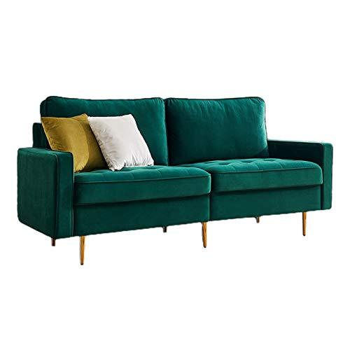 HANTURE Rivet Brooke - Divano moderno in velluto trapuntato di metà secolo, 31 W, collezione moderno divano imbottito a mano con 2 cuscini imbottiti, colore: smeraldo