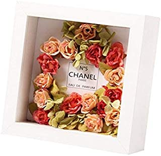Ray & Chow White 8x8 inch 3D Photo Frame Deep Box Frame Shadow Box Frame for Flowers,Art Crafts,Wedding Gifts etc.- Glass Window- Solid Wood - Interior Depth: 5CM- Table Top Display or Wall Hanging