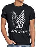 A.N.T. Wings of Freedom Camiseta para Hombre T-Shirt Attack legión de reconocimiento on Titan, Talla:L, Color:Negro