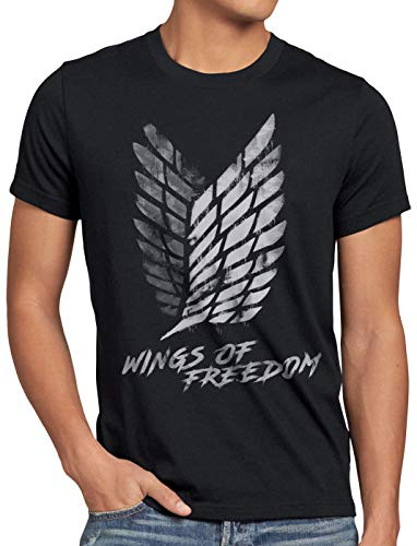 A.N.T. Wings of Freedom Camiseta para Hombre T-Shirt Attack legión de reconocimiento on Titan, Talla:S, Color:Negro