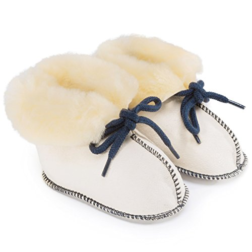 Baby-Schuhe aus medizinischem Lammfell von WERNER CHRIST- Fellschuhe, Lammfellschuhe für Kinder (Junge, Mädchen, Kleinkind), Hausschuhe mit blauem Garn, Größe 21-22