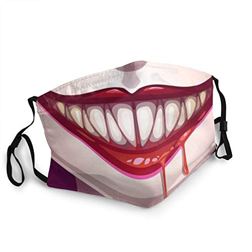 Joker Evil Smile Face C-over Reusable - Adjustable Mouth Balaclava Bandanas for Outdoor Adult Dust Windproof - 8