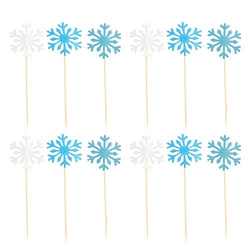 Hemoton 30 Piezas Creativas Copos de Nieve Cupcake Toppers Toppers de la Torta de cumpleaños decoración de la Torta para Navidad Baby Shower Fiesta cumpleaños (Plata y Azul y Azul Real)