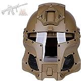 GYQCP Casco Airsoft, Máscara Que Se Puede Abrir Resistencia Al Impacto Guerrero Medieval con Malla De Acero Airsoft Paintball Militar Bar Moto Retro Casco