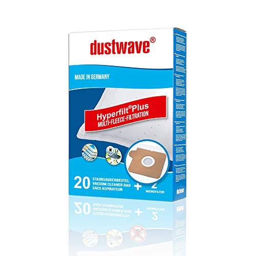 20 Staubsaugerbeutel + 2 Filter mehrlagiges Micro-Vlies für AEG, ELECTROLUX, PORGRESS, TORNADO geeignet und kompatibel mit Swirl A06 - dustwave® Markenstaubbeutel Made in Germany