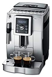 De'Longhi ECAM 23.420.SB fully automatic coffee machine with milk frother for cappuccino, espresso direct selection button and digital display with plain text, 2-cup function, 1,8 liter water tank, silver / black