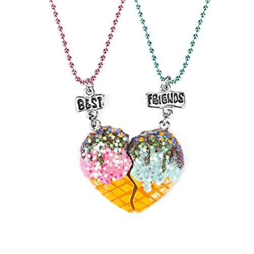 SkyWiseWin Ice Cream Heart Necklace for Children, Best Friends Necklace for 2, Split Heart Never Apart Best Friends Pendant Friendship Necklace Set of 2