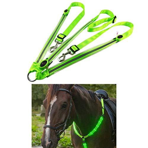 Peahop LED Pferdegeschirr, LED Horse Breastplate Collar Hohe Tack Für Reiten Einstellbare Sicherheitsausrüstung Outdoor Pferdesport