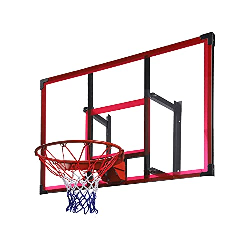 48'' Basketball Hoop,Rpvati Garage/Wall Mounted Basketball Hoops&Goals Rim Combo Kit,Adjustable Height,Polycarbonate Board,Sturdy Rustproof Steel Frame,QuickPlay Design,for Outdoor/Indoor Install (A)