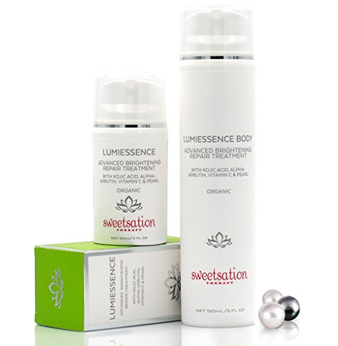 LumiEssence Duo Organic Advanced Brightening Repair Treatments for Face & Body with Kojic Acid,...