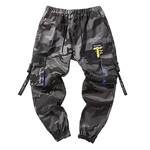 GYSAFJ Pantalones deportivos para hombre para pantalones de correr casuales pantalones de jogging pantalones de bolsillo, Gris (Camo Gray), 5X-Large