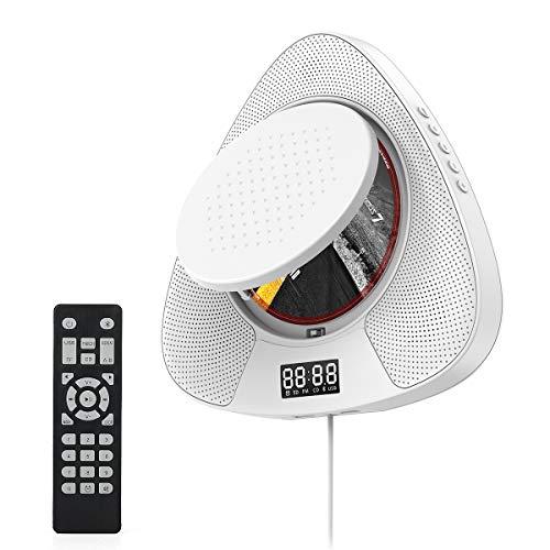 Reproductor de CD para altavoces de alta fidelidad incorporados y Bluetooth, radio FM se aplica a CD / MP3 USB montado en la pared reproductor de música portátil - blanco