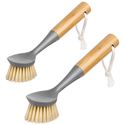MR.SIGA Dish Brush with Bamboo Handle Built-in Scraper, Scrub Brush for Pans, Pots, Kitchen Sink Cleaning, Pack of 2