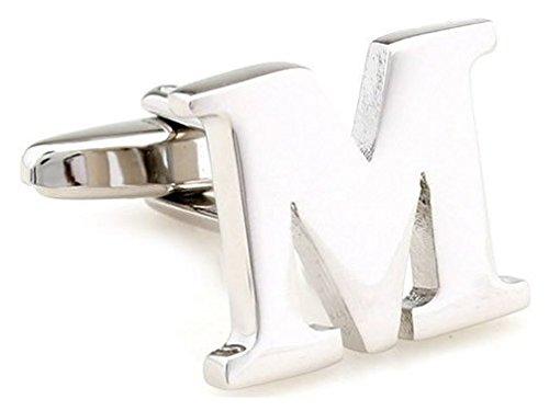 Teroon Manschettenknopf Buchstaben Initiale 'M' [EIN Knopf - KEIN Paar]