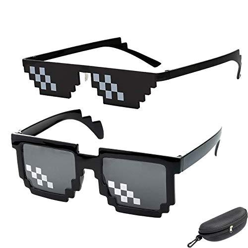 Gafas de sol Thug Life, Gafas Pixeladas de Mosaico gafas de sol unisex, gafas divertidas y novedosas para hombres y mujeres (Negro)