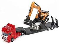 Baustellenfahrzeuge und Baustelle mit Vorratsbehälter, 6 Fahrzeuge - Turmkran, Zement-LKW, Bagger, Straßenwalze, Muldenkipper und Tankwagen