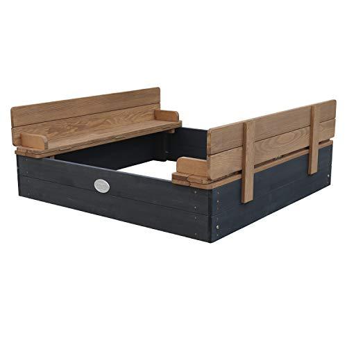 AXI Sandkasten Ella aus Holz mit Deckel | Sand Kasten mit Sitzbank & Abdeckung für Kinder in Anthrazit & Braun | 100 x 95 cm