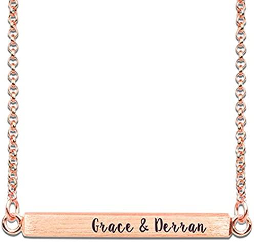 Collar Lakabara de plata de ley 925 para mujer, 4 lados, collar de barra horizontal en 3D, nombre personalizado, grabado de texto, 14.0 oro rosa