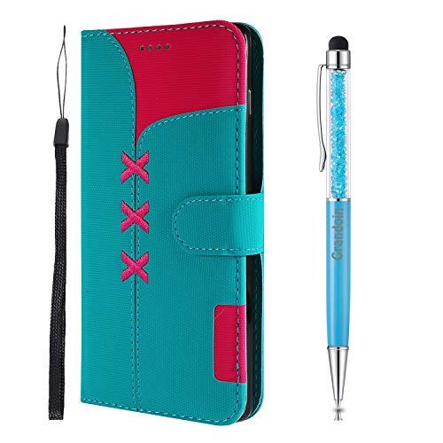Grandoin für Huawei Honor 10 Lite/P Smart 2019 Hülle, Handyhülle im Brieftasche-Stil, [Gestickt] Handytasche PU Leder Flip Cover Bunte Muster Book Case Schutzhülle (Hellblau)