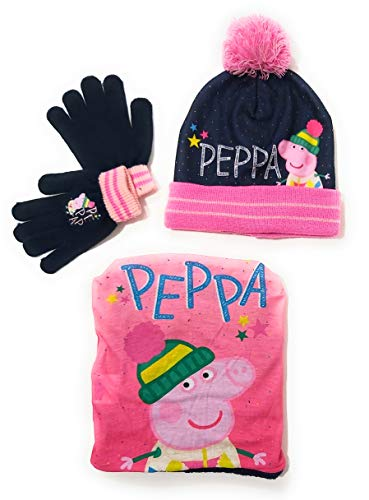 E PLUS M Peppa Pig Mütze, Schlauchschal und Handschuhe für Mädchen, Winter-Set Peppa Wutz, Halstuch mit Innenfutter und Handschuhen, Mehrfarbig 54 cm