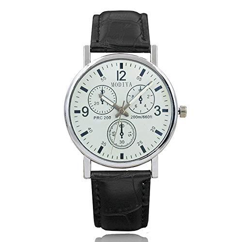 Moda para Hombre Reloj de Pulsera de Acero Inoxidable Correa de Reloj Pulsera de Cuero Redonda Relojes para Hombre Reloj de Cuarzo Reloj de Cuarzo (Blanco 7 Negro)