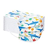 3 Ply Non-Woven and Breathable, Cute Cartoon 50Pcs Face+Bandanas with Cute Printing, No Washable,Anti-Haze Dust, for Kids (Shark Ocean)