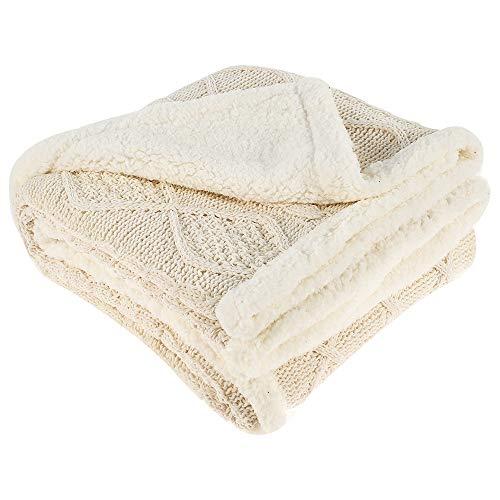 ODOMY Decke hochwertige Wohndecken Kuscheldecken, extra Dicke warm Sofadecke/Couchdecke in zweiseitig, super flausch Fleecedecke als Sofaüberwurf oder Wohnzimmerdecke (Beige, 120 * 180 cm)