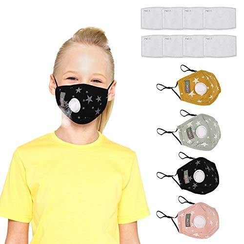 ANEAR Reuseble Mund-nasen-Schutz für Kinder, 4 Stück Mund und Nasenschutz Waschbar mit 8 Stück austauschbaren Kohlefiltern