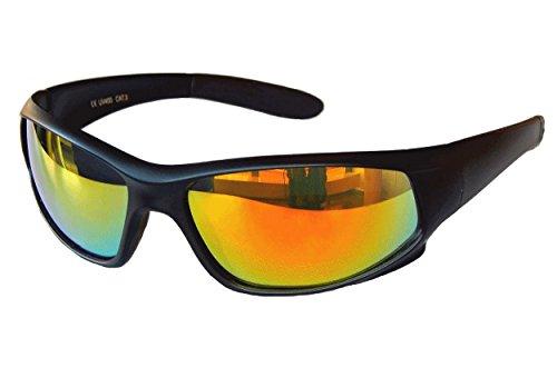 Gil SSC Sportbrille Sonnenbrille Snowboard Black matt verspiegelt Fahrradbrille Sport M 1 (Rot Gold verspiegelt)